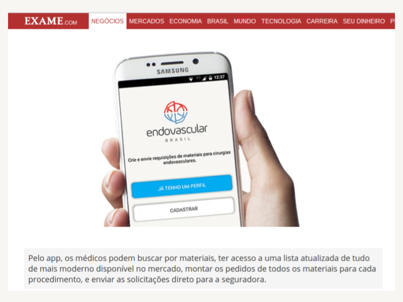 Blogs e site mostram as vantagens do app Endovascular Brasil